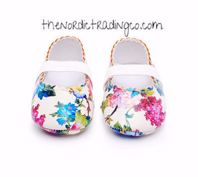 Flower Print Baby Girl PU Faux Leather Mocs Crawlers 1st Walkers Sweet Florals Pinks Yellows Blue Infant Girls Soft Sole Crib Shoes 1, 2