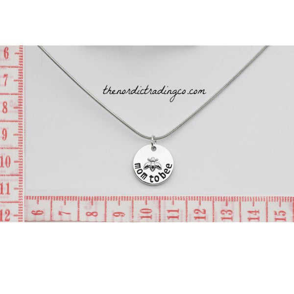 Mom to Bee Necklace Silver Tone Pendant Women's Maternity Pendant Jewelry Pink Blue White Crystal Charm Baby Shower Gift Idea Mommy Mother to Be Gifts Accessories USA