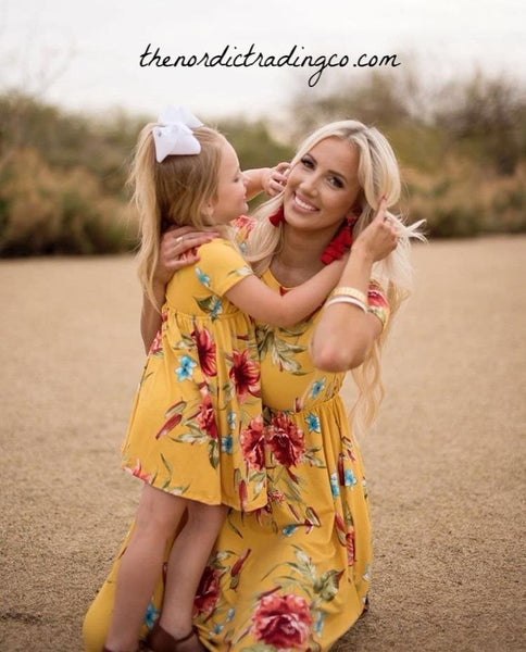 Mommy and Me Mother Daughter Rustic Boho Dresses SS Gold Maroon Mom Dress Family Photography Mom's Med LG XL