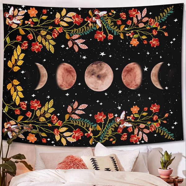 Moon Phases Flower Plants Boho Wall Tapestry Home Dorm Apartment
