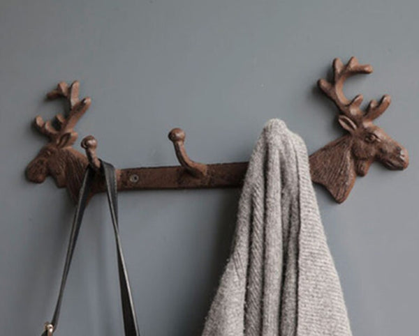 Deer Moose Head Coat Hook Rack Rustic Cast Iron Hardware Decor Lodge Nordic Cabin Country Wall Hooks Coat Hanger Home Living Room Bath Entryway