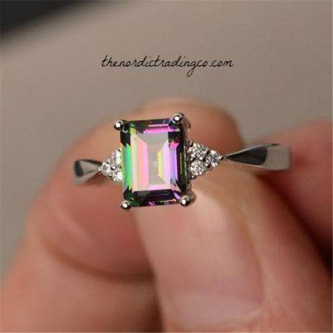 fbaeb9fa3 Created Mystic Topaz 10mm Ring Centered atop a Diamond Adorned Slender  Silver Shank Women's Rings Jewelry