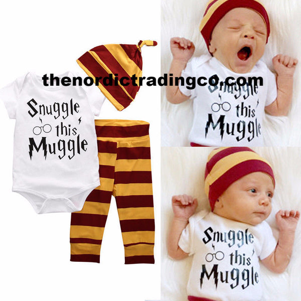Snuggle This Muggle Harry Potter Inspired Set New Baby Shower Gifts Christmas Wizard Fans Gift Set Onesie Pants Hat USA