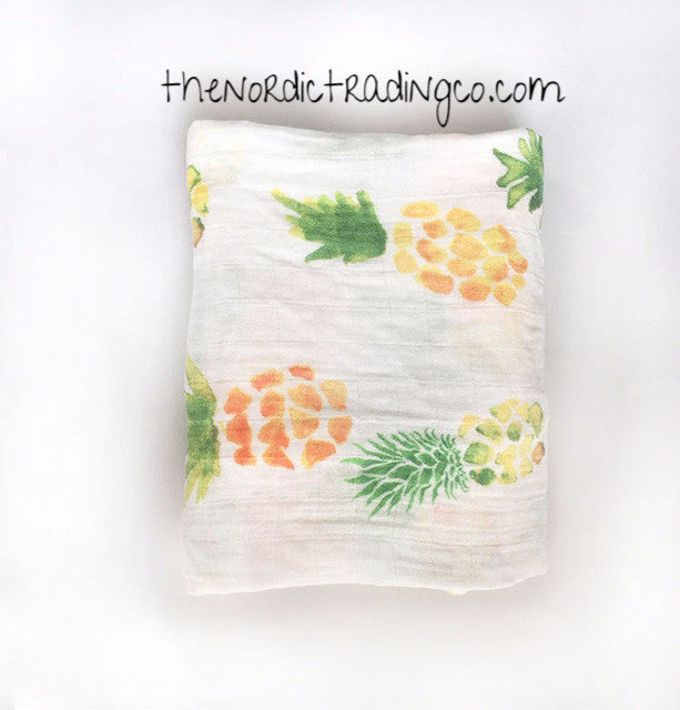 Pineapple Newborn Baby Swaddle Wrap Organic Breezy Muslin Breastfeeding Cover Car Seat Cover Multi-Use Baby Shower Gifts Blankets Accessories