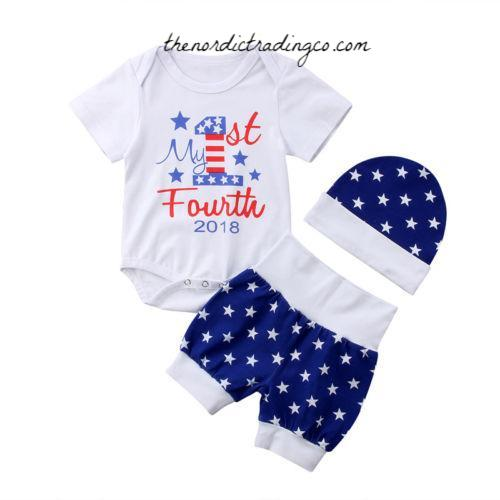 Newborn Boy's My 1st Fourth of July Outfit 0/3mo Infant Boys Nordic Outfits Baby Shower Gift Set Hat Boy Onesie Bodysuit Shorts Bottoms USA Ships
