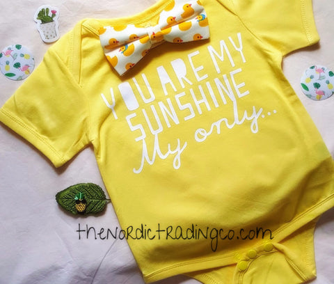 You Are My Sunshine ... Boys Girls Outfit Photo Prop Set Yellow  Onesie Rubber Duck Bow Tie Baby Shower Gifts SetsUSA Clothes Newborn Romper Bodysuit