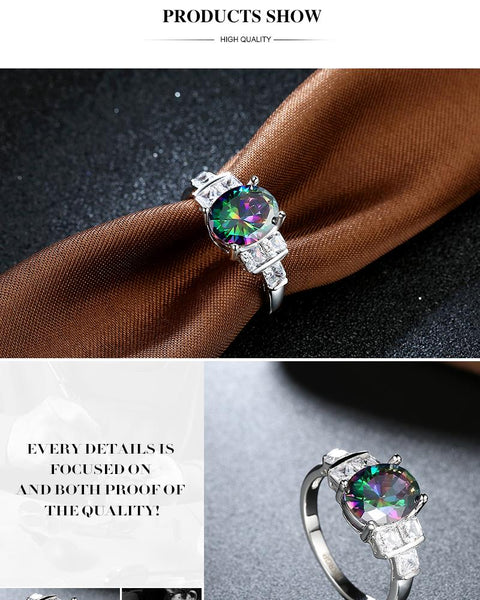 Eternal Love Rainbow Topaz Womens Ring Oval Stone White Sapphire Squares Sterling Silver 18KGP Women Promise Engagement Wedding Rings Jewelry Gifts