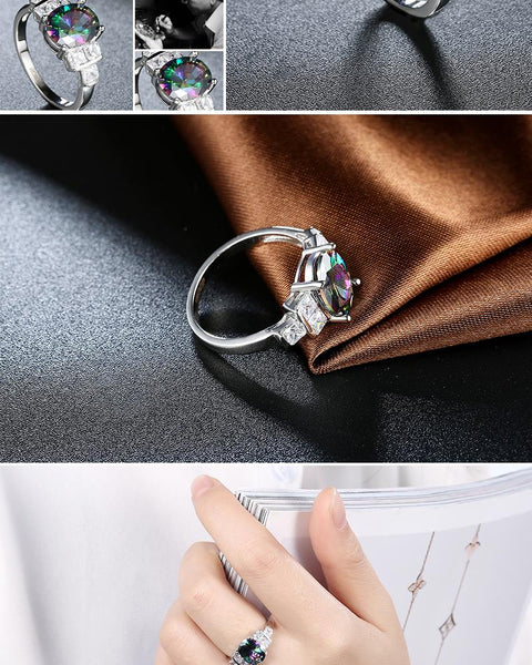 Womens Mystic Rainbow Topaz White Sapphire Ring Eternal Love Gift Wedding Engagement Rings