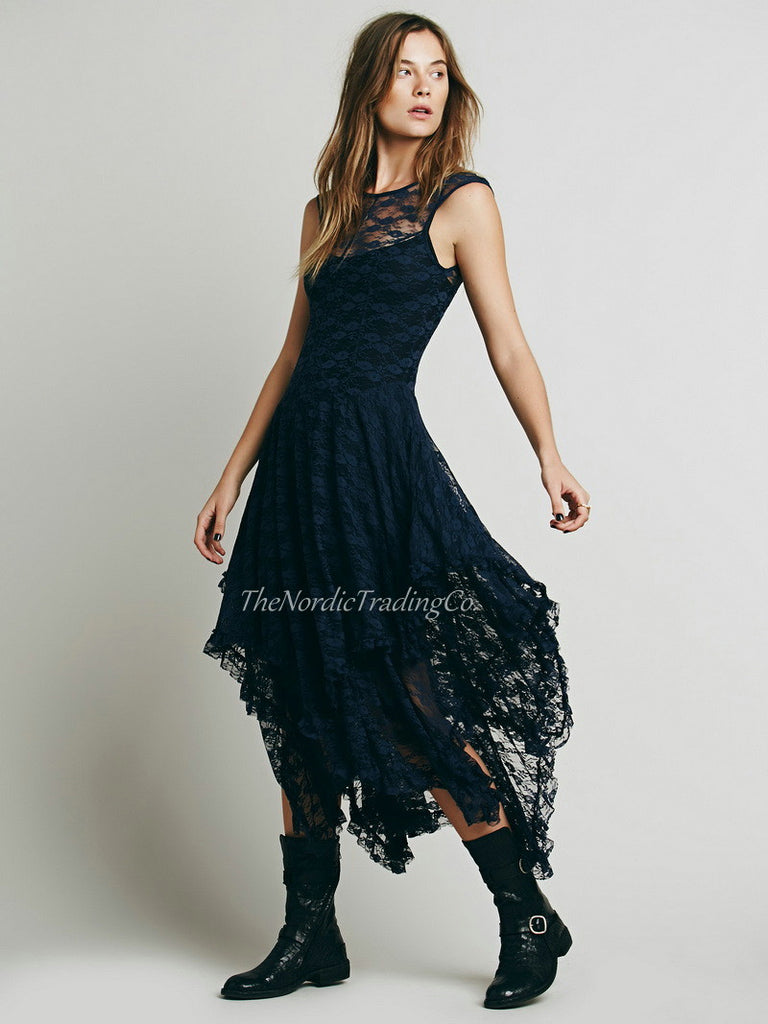 Romantic Tiered French Courtship Victorian Lace Dress in NEW Color Navy Blue size USA  L / XL Women's Boho People Clothing
