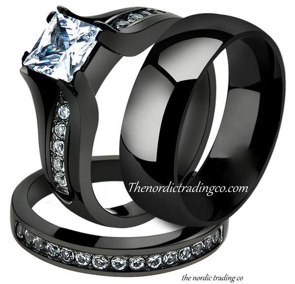 New! Gorgeous Engagement & CZ Wedding Ring Couples Set Black & Silver Design His Hers 3 pc Bands Rings Bridal Groom Female Male Jewelry Men's