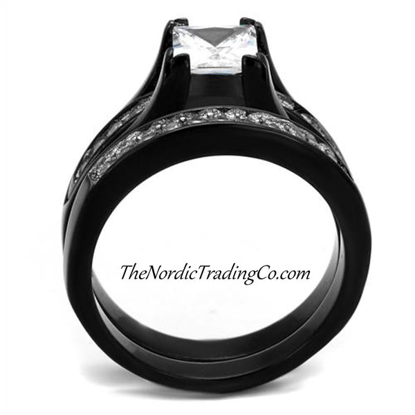His and Hers Engagement & CZ Wedding Rings Couples Set Black Glossy Plated Design 3 pc Ring Bridal Sets Groom Women's Men's Band Jewelry