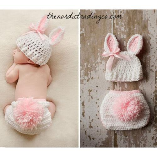 Newborn Baby Hand Made Rustic Easter Bunny Photo Prop w/ Carrot 3 piece Crochet Set Hat Pant / Diaper Cover & Carrot Infant 1st Photo Prop Easter Spring Rabbit