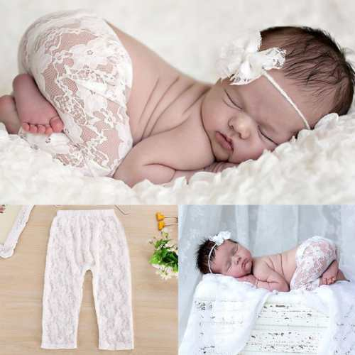 Lil Miss Lacey Pants Newborn Girl Boutique Handmade Lace Ruffles Girl's Infant Photo Prop Bottoms Ivory Gold Ribbons Super Tiny Props First Photos