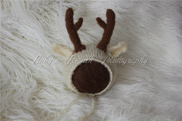 XS Newborn Handmade Darling Deer w/ Antlers Natural Organic Mohair Infant Hat Keepsake Worthy Baby Shower Gifts Photo Prop