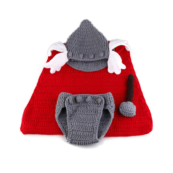 Newborn Baby Boy Handmade Superhero Thor Crochet Cape Helmet Hat Diaper Cover Costume Infant Boys 1st Halloween OutfitPhoto Prop