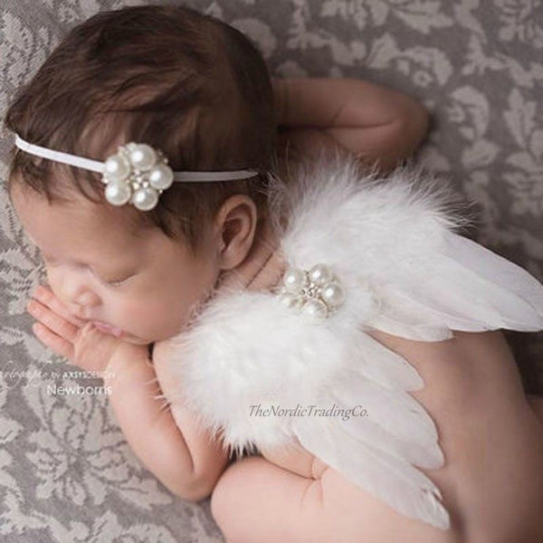 Tiny White Angel Wings Plus Headband Set Newborn Couture Photo Props Lovely Heirloom Baby Shower Gift Birth Announcements Pictures Infant Photography
