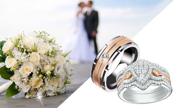 His Hers Engagement Wedding Ring Set Couples Rings Rose Gold Sterling Silver Mens Womens Matching Rings