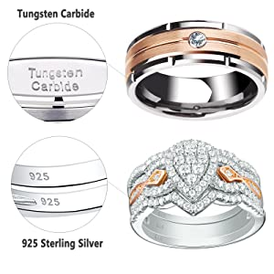 Couples Wedding 4 Ring Set Rose Gold Sterling Silver Womens CZ Engagement Bridal Rings Mens Tungsten Carbide Band Matching His Hers Jewelry