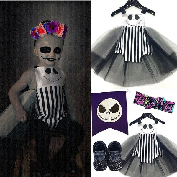 Nightmare Before Christmas Girl's Halloween Tutu Romper Dress Costume ONE Baby Toddler Girls Jack / Sally Skellington Girl Kids Costumes Party Birthday Tutu's Clothing