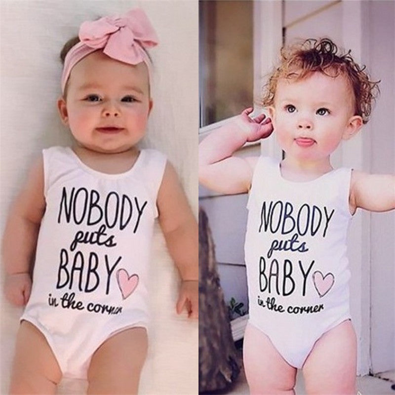 Nobody Puts Baby In The Corner Pink Retro Wording 80's / Dirty Dancing Onesie Romper sz 18 - 24 mo Baby Toddler Girl Set Head Band