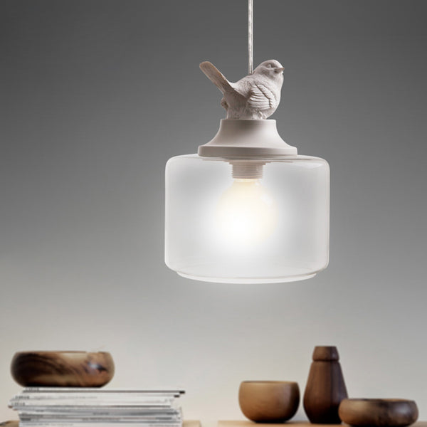 Nordic Home Bird Pendant Light Single / Multi White Birds Clear Glass Modern Minimalist Interior Design