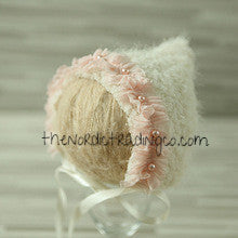 Heirloom Handcrafted Infant Vintage Inspired Nordic Wool New Baby Hat Pink Blush Ivory Green Trim