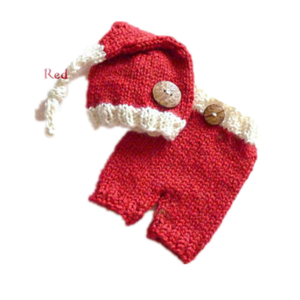 Nordic Handmade Crochet Santa Set Knot Beanie Hat Pants Big Wood Button Thick Stitch Vintage Style 3 - 9 mo Infant Unisex Christmas Photo Prop Cards Photography USA Ships Now