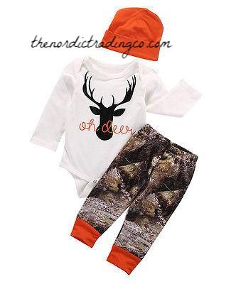 OH Deer Daddy's New Huntin Buddy is here a Black Deer Silhouette Blaze Orange Camo Bottoms 3/6mo Baby Boy Gift Set Newborn Clothes