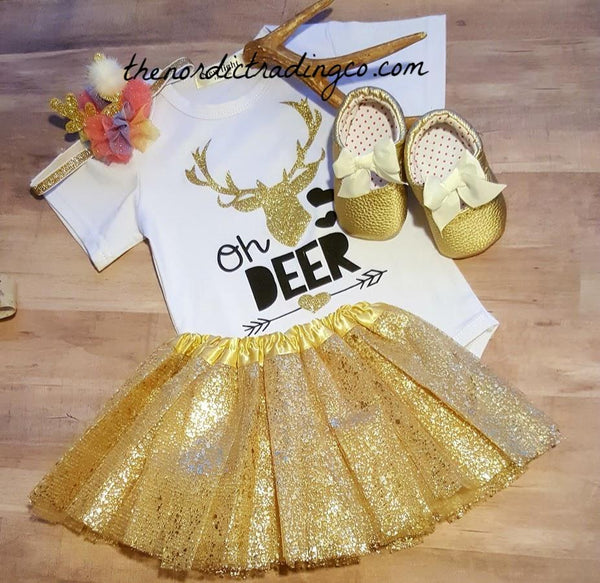 Oh Deer Baby Girl Nordic Gift Set INCLUDES Onsie Skirt Moccasins Antler Headband ALL 1 Price Gold Tutu Infant Shoes SS Bodysuit 6/12 Mo. Girls Party Clothing Sets First Birthday Set 1/2 One USA