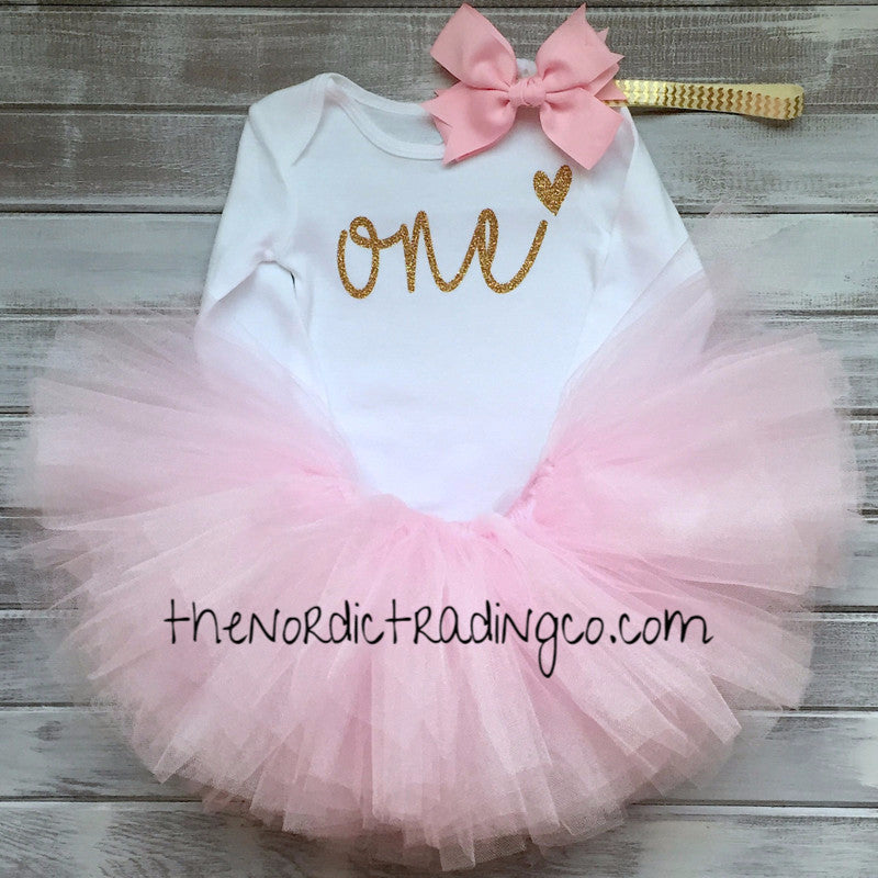 One First Birthday Princess Soft Pink Fluff TuTu LS Onesie Top Gold Chevron Headband Set Baby Infant Toddler Kids Clothes Clothing Skirts