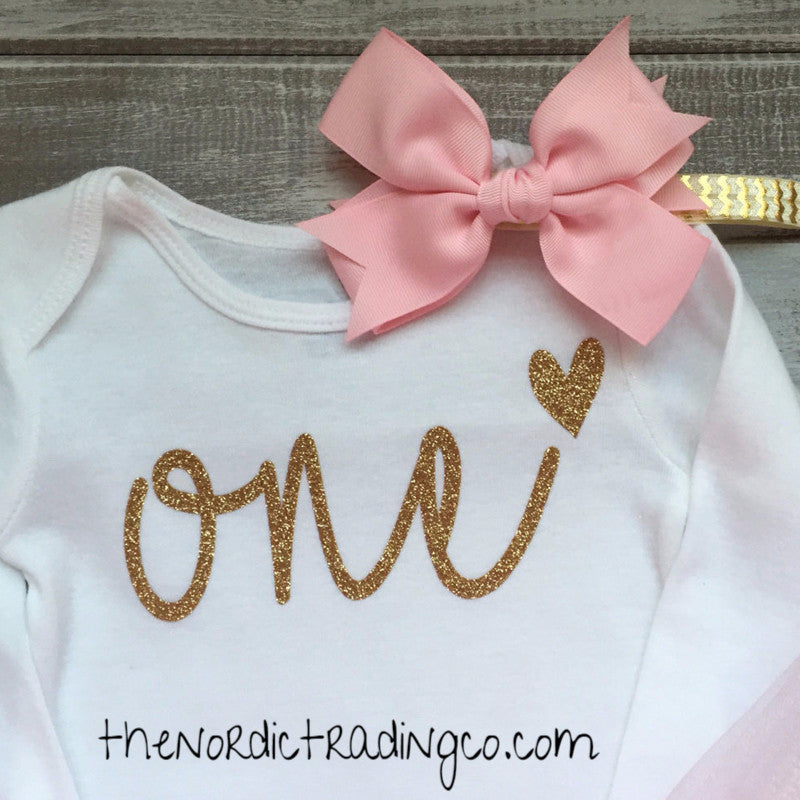 f93c1f6ddd9f9 ... One First Birthday Princess Soft Pink Fluff TuTu LS Onesie Top Gold  Chevron Headband Set Baby ...