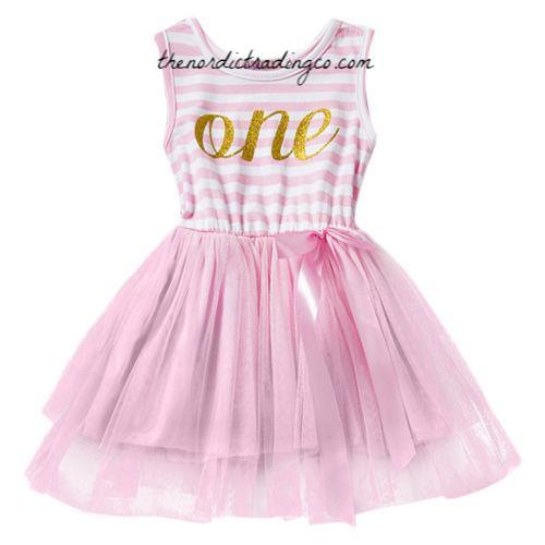9fce1f87ae9e0 Baby Girl ONE First Birthday Party Dresses Headband Set Pink White Gold  Dress Kids Clothes Clothing