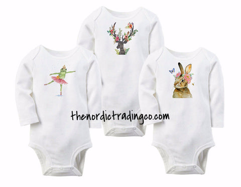 Floral Animal Infant Onesie Bodysuits Bunny Deer Fawn Baby Shower Gifts Newborn Clothes Clothing Apparel Coming Home