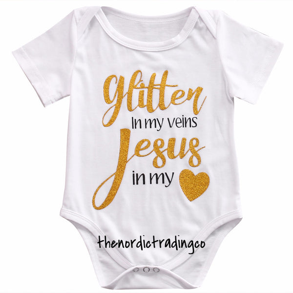 Glitter In My Veins & Jesus In My Heart Onesie Plus Girl Headband Girls Newborn Infant Clothes Sets Baby Shower Coming Home Gifts 0-6mo.