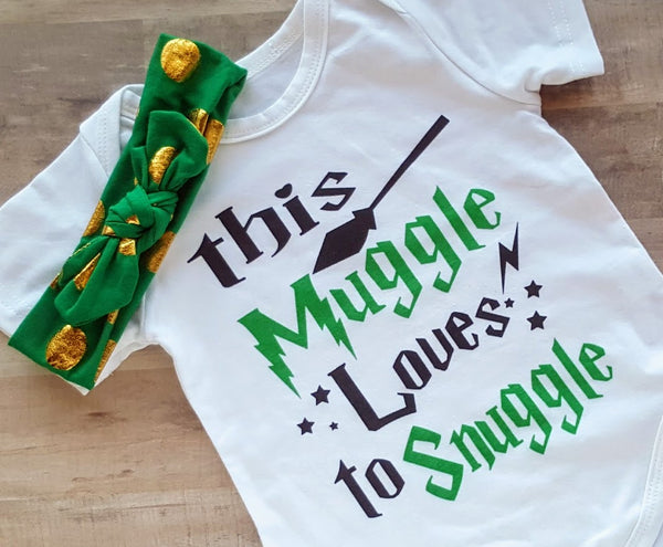 This Muggle Loves to Snuggle Boy Girl Harry Potter Inspired Onesie Plus Bib Boys / Headband Girls USA Shipping Newborn