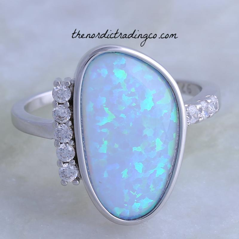 Blue Fire Opal & Inlaid Austrian CZ's Women's Fine Jewelry .925 Silver Overlay Free-Form Opal Ring Women Special Days Rings Wife Love Valentine's Day Gifts for Mom Anniversary Birthday Gift Ideas Ladies