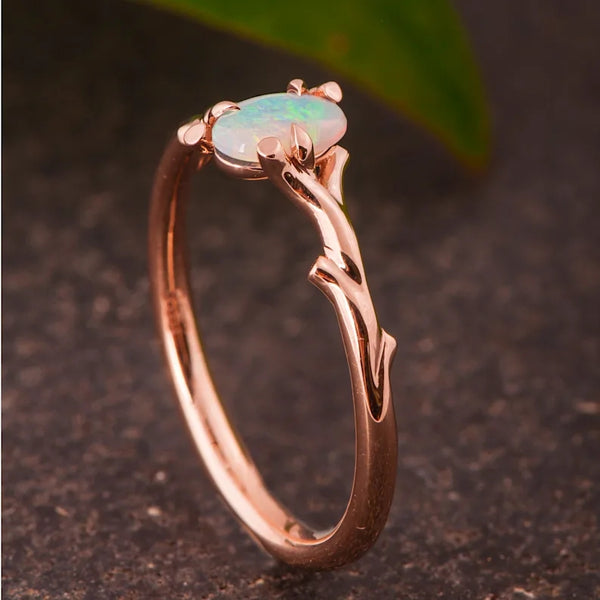 Romantic Rose Gold Opal Branch Ring Lab Opal Artisan Jewelry Women Promise Engagement Rings Anniversary Birthday Valentines Day Gift Women's Ring's