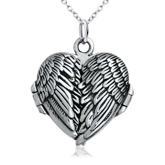 Silver Folding Angel Wings Locket Necklace Women's Necklaces Lockets Pendant Woman Jewelry Gifts Memorial Sympathy