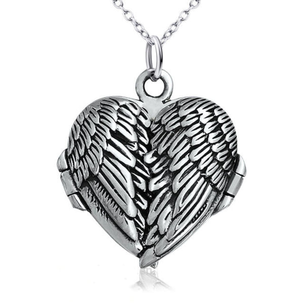 Silver Folding Angel Wings Locket Necklace A Precious Gift to Treasure Wife Girlfriend Christmas Stocking Stuffer Women's Jewelry Pendant Gifts Loved One