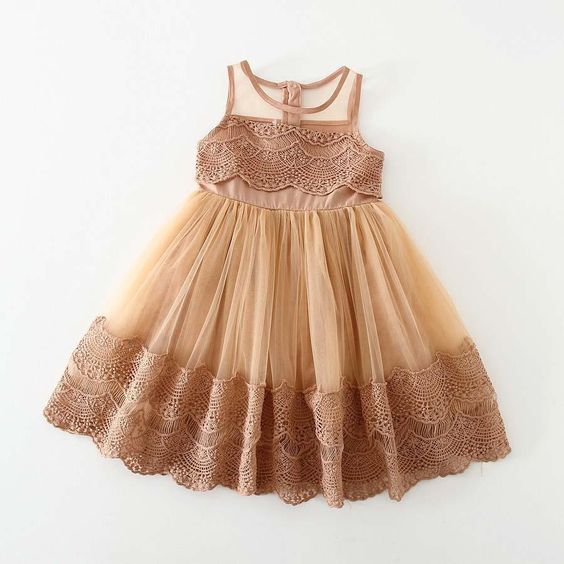 Flower Girl Dresses Vintage Caramel Coffee Beige Lace Toddler Big Girl Dresses Layers Tulle Mesh Flower Girl's Rustic Woodlands Flower  Girl's Dresses Special Occasion