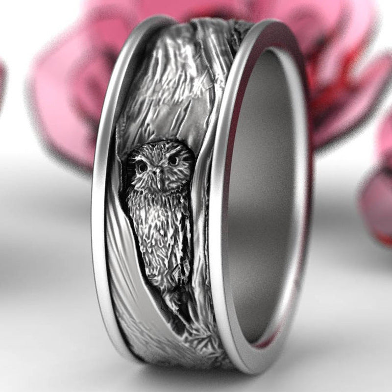 Silver Owl Ring Tree Bark Mens Womens Unisex Wedding Rings Christmas Birthday Anniversary Band Jewelry Gifts