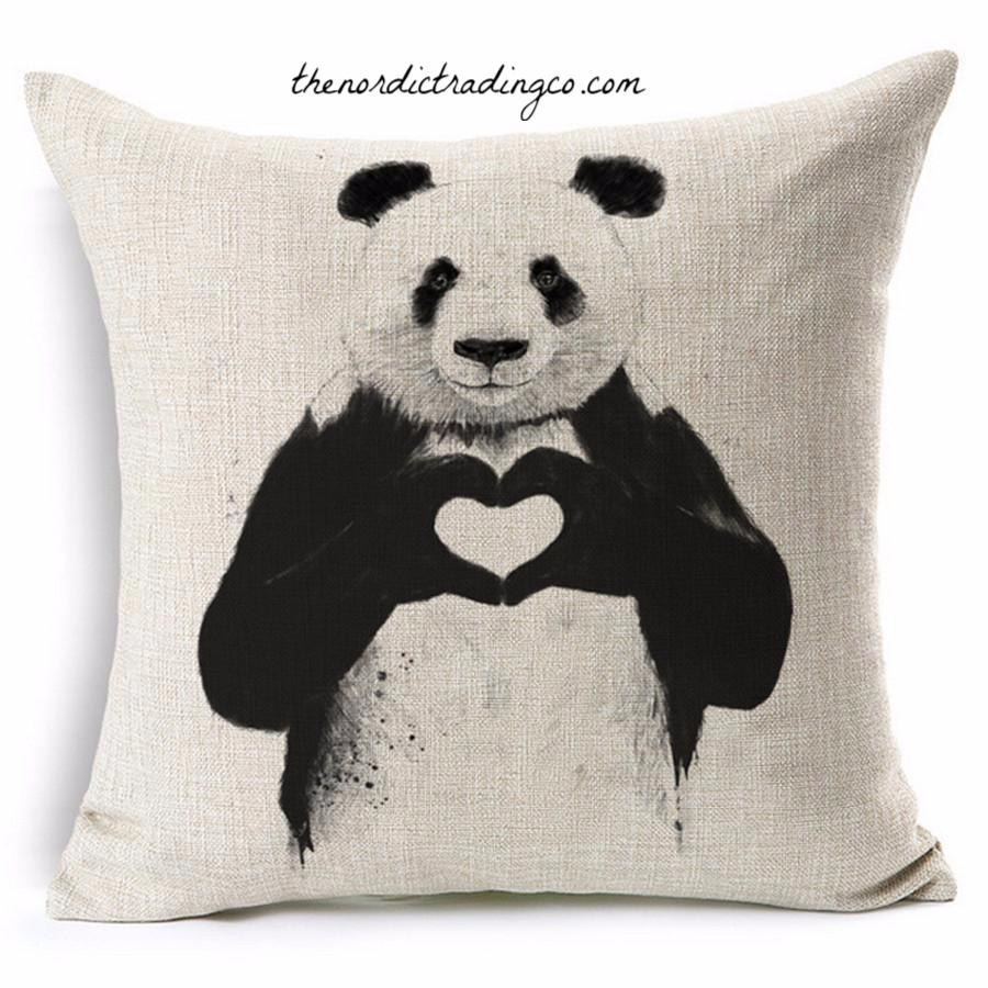 Panda Bear Throw Pillow Cushion Covers Pandas Love Nordic Home Decor Bedroom Baby Nursery Living Room
