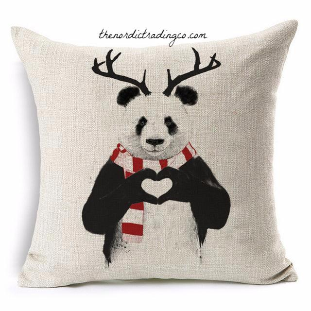 Christmas Panda has Deer Antlers & Red White Rugby Stripe Long Scarf Pillow Cushion Cover Great Gift Idea Him Her Hostess Gifts Nordic Home Decor