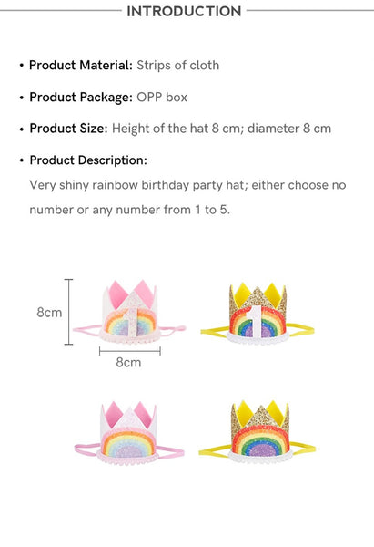 Rainbow Party Crown Dimensions Boys Girls Birthday Hat Favor Supplies