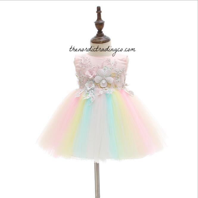 7e7c86a31 Baby Girl s Party Dress Pastel Flowers Rainbow Tulle Embroidery OH MY –  thenordictradingco.com