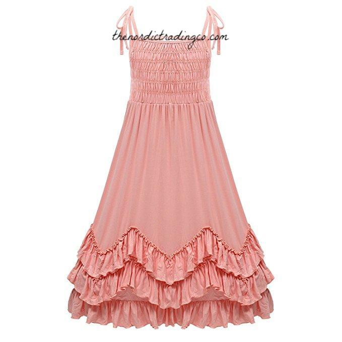 Sweet Little Girl's 3 Tier Ruffled Country Maxi Dress Soft Peach Cotton Jersey Flower Girl Dresses Children's Kids Wedding Party Clothing