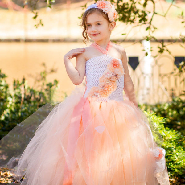 Coral Blush Girl's Tulle Long Dresses Floral Trellis Cascades Down One Shoulder size 4T 5 6 Big Girl Toddler Gowns Clothes Kids Childrens