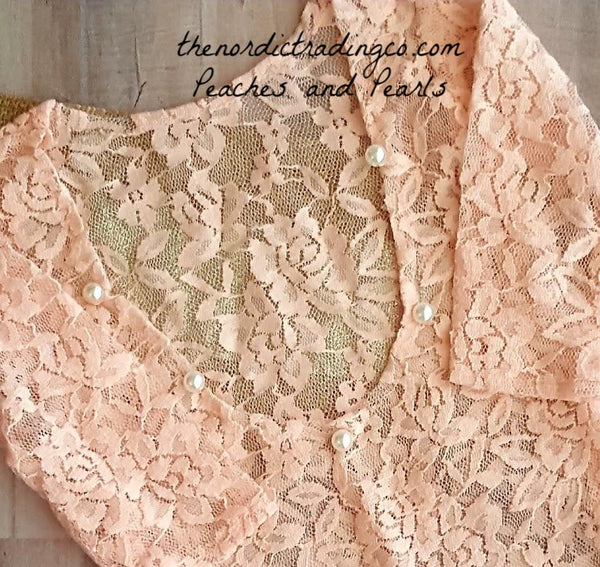 Peaches & Pearls Baby Girls Newborn Lace Photo Prop Bodysuit Girl's Baby Shower Gifts Infant Photography Props Outfit USA Peach Handmade Headband