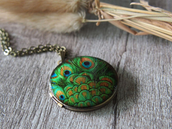 Peacock Two Photo Locket Eclectic Handmade Women's Jewelry Bronze Tone Necklace Gifts Accessories