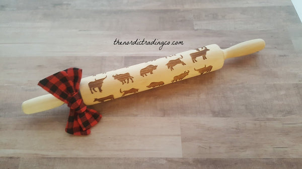 Wedding Bridal Shower Gift Gifts Rustic Farm Farmhouse Rolling Pin CUSTOM Made Embossed Cow Steer Bull Buffalo